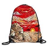 3D Print Drawstring Backpack Rucksack Shoulder Bags Gym Bag Lightweight Travel Backpack Africa Lion