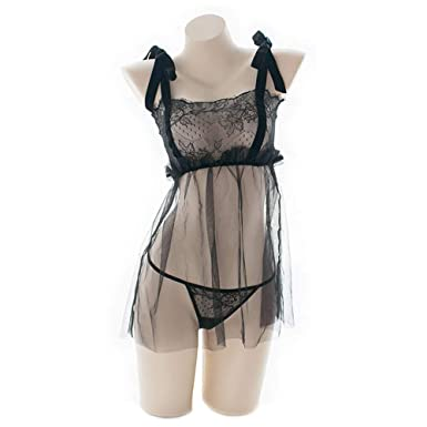 2e4237f220 YOMORIO Womens Sheer Lace Chemise Lolita Sexy Maid Cosplay Underwear  Vintage Strappy Nightgown (Black)