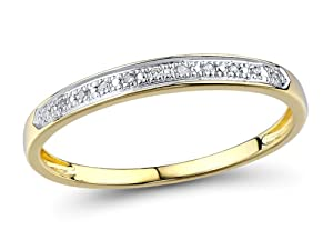 10k Yellow Gold Petite Diamond Weddding Band with White Rodium Plating