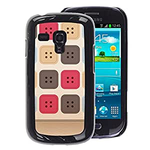 A-type Arte & diseño plástico duro Fundas Cover Cubre Hard Case Cover para Samsung Galaxy S3 MINI 8190 (NOT S3) (Sewing Uniform Pattern Beige)