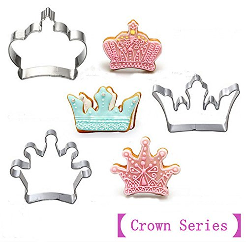 Star-Trade-Inc - 3pcs [Crown Series]Stainless Steel Cookies Mold Cutter 3D Biscuit Press Fondant Moldes Galletas Chocolate Mooulds CT421