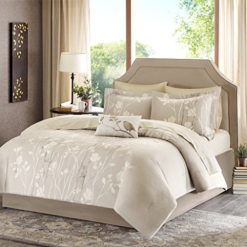 Madison Park Essentials Vaughn Twin Size Bed Comforter Set Bed In A Bag - Taupe, Floral – 7 Pieces Bedding Sets – Ultra Soft Microfiber Bedroom Comforters - Madison Twin Comforter