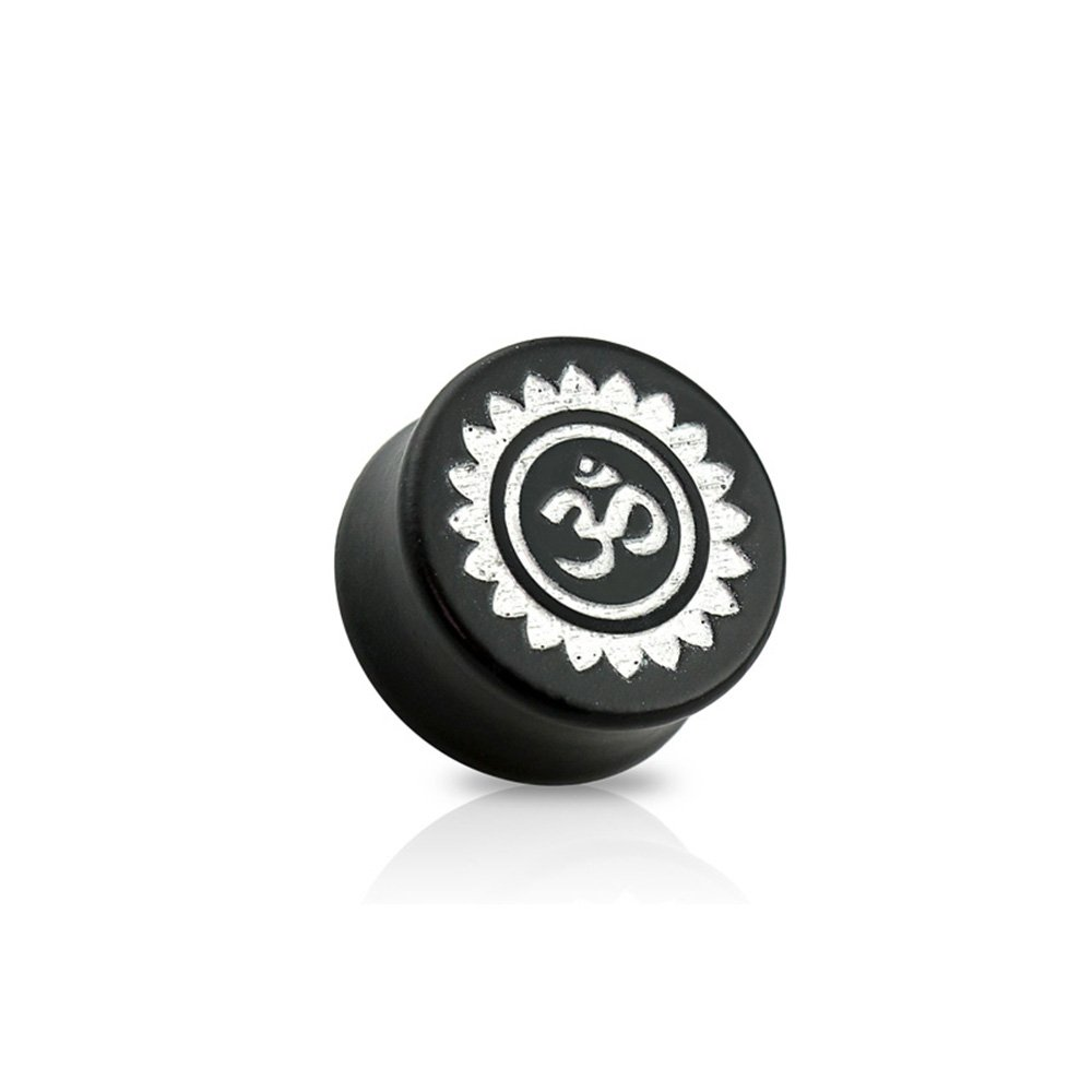 Dynamique Pair Of Double Flared Black Ebony Wood Saddle Plugs With Silver Om Symbol Front