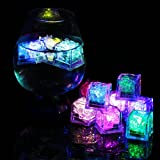 Multicolor LED Ice Cube, Dr.Light IP67 Waterproof Flashing LED Light Up Ice Cubes,Wedding Party Champagne Tower Decoration, Flashing Light LED Glow Lighting for Drinking Wine (6 Pack)