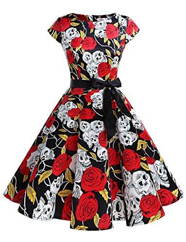 Dressystar DS1956 Women Vintage 1950s Retro Rockabilly Prom Dresses Cap-Sleeve XS Skull2