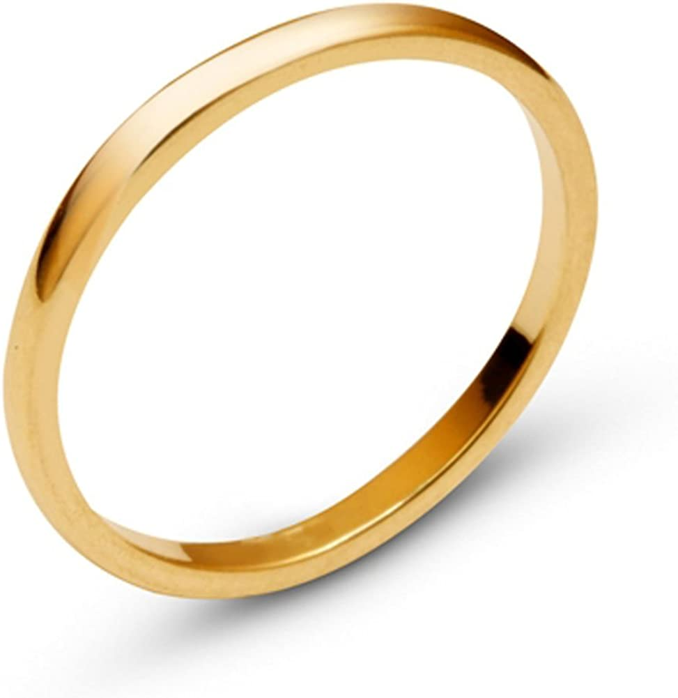 Pure 10k/14k Yellow Gold CHOOSE YOUR WIDTH Comfort Fit Domed Plain Men's Women's Wedding Band