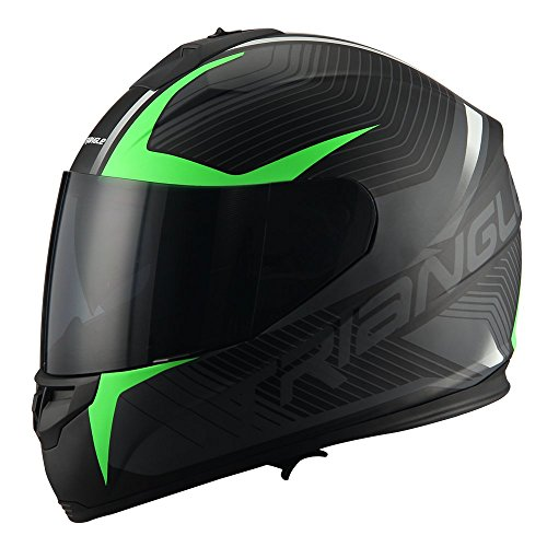 Triangle Full Face Dual Visor Matte Black Street Bike Motorcycle Helmet (Matte Green, Large)