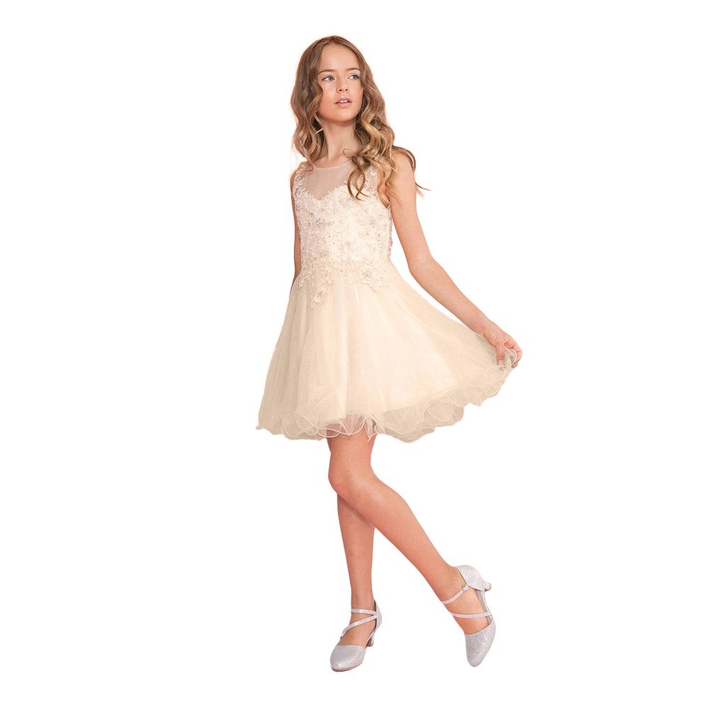 c904b97e8a0 Amazon.com  Calla Collection Big Girls Champagne Lace Illusion Short Party  Tween Dress 6-18  Clothing