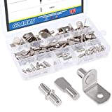 Glarks 110-Pieces Nickel Plated Shelf Bracket Pegs Cabinet Furniture Shelf Pins Support 3 Styles - Silver