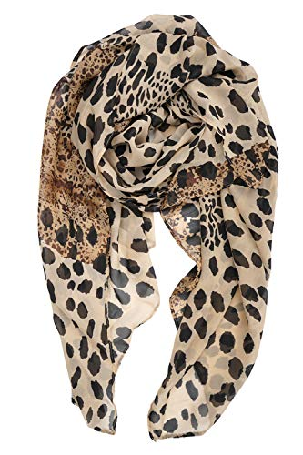 YOUR SMILE Ladies/Women's Lightweight Floral Print/Solid Color mixture Shawl Scarf For Spring Summer season (Leopard - Leopard Head