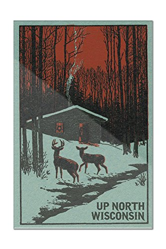 Up North, Wisconsin - Deer and Cabin in Winter - Woodblock (8x12 Acrylic Wall Art Gallery Quality)