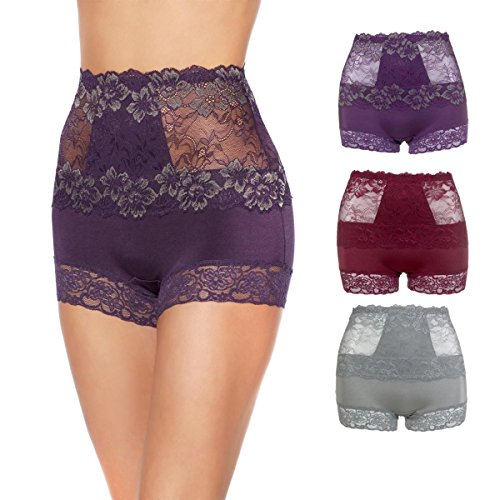 Ahh By Rhonda Shear 3-Pack Pin up Lace Panties (Midnight Soiree, 3X)