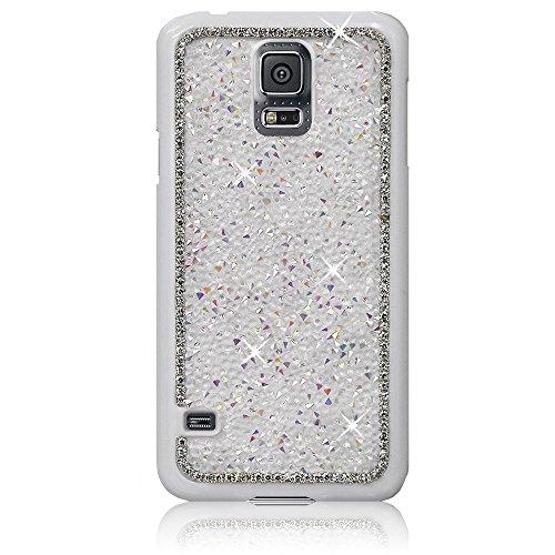 Xtra-Funky Exclusivo Samsung Galaxy S5 (i9600) Crystal Rhinestone Rocas del estuche rígido con espumoso Diamante ribete y Chrome Llanta - Blanco Blanco