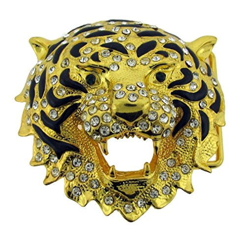 Lion Tiger Belt Buckle Animal Golden Rhinestone Men Women Girly Western New Ladies