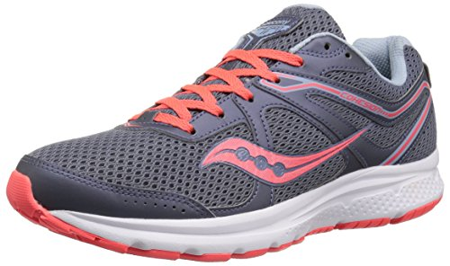Saucony Women's Cohesion 11 Running Shoe, Grey/red, 9.5 Medium US ()