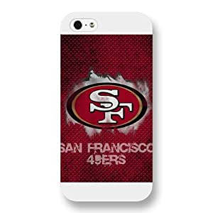 Onelee Customized NFL Series Case for iPhone 5 5S, NFL Team San Francisco 49ers Logo iPhone 5 5S Case, Only Fit for Apple iPhone 5 5S (White Frosted Shell)