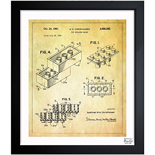 Amazon.com: Lego toy building brick, 1961 Vintage Framed Wall Art Print for Home decor & Office. The Toys Wall Decor Blueprint Collection by Oliver Gal ...