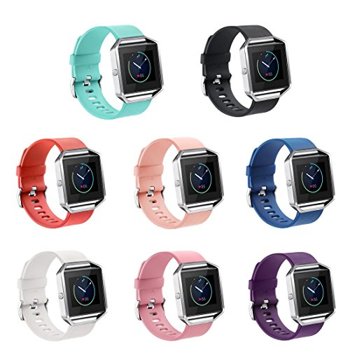 GinCoband Fitbit Blaze Bands Replacement for Fitbit Blaze Smart Watch No Tracker 8 Color Large Small Women (Set of 8, Small)