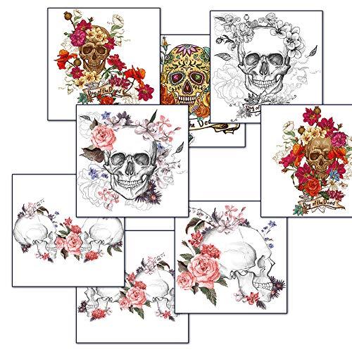 Biker Girl Halloween Makeup (Body Stickers Temporary Tattoos,Day of The Dead Skull Fake Waterproof Body Tattoos Stickers,Roses Tattoos Halloween Makeup for Women Men (8)