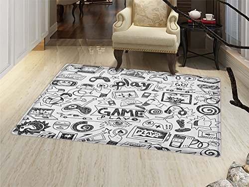 smallbeefly Video Games Door Mats Area Rug Monochrome Sketch Style Gaming Design Racing Monitor Device Gadget Teen 90s Floor mat Bath Mat for tub Black White