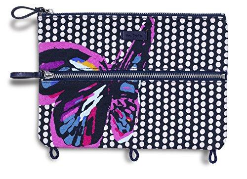 Vera Bradley Binder Pencil Pouch Toiletry Travel Bag with Zip Close (Butterfly - Travel Little Bradley Vera Case