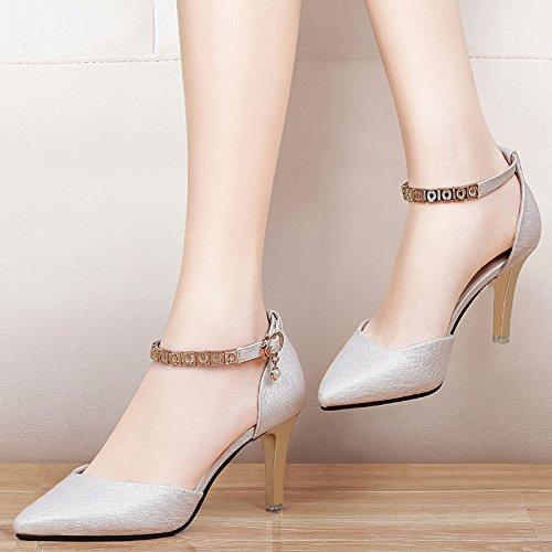 la tacchi scarpe Alla signore a 6 fibbie scarpe AJUNR Da 8cm Moda le Donna i le bene Sandali spillo solo tacchi black i qp4ZwYa