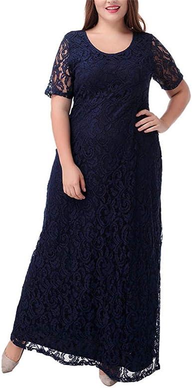 Falda Larga de Encaje Completo Vestido de Noche Elegante de Europa ...