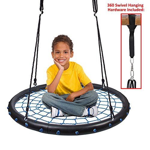 "Clevr 40"" Round Outdoor Toys Playards Tire Spider Web Tree Net Swing with Detachable 360 Degree Spin Swivel Hanging Hardware & Adjustable 71"" Height Rope, 600 lbs. Limit - Blue & Black from Clevr"
