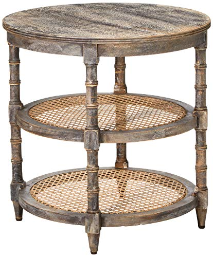 Creative Co-op Round Mango Wood Table with Two Cane Shelves, Brown (Best Shelves For Manga)