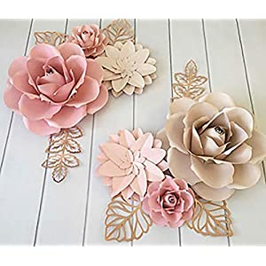 BUBBAPAINT | 3D Paper Flower Decorations for Wall |Backdrop for Décor | Giant Size Pre-Assembled Flower | Girld Nursery Wall Decor | Wendding, Bridal Shower, Baby Shower, Rooms | Pink & Cream 111