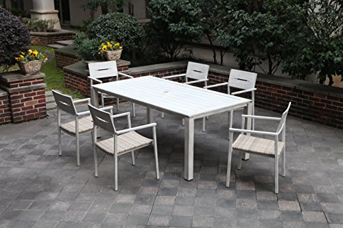 """Pebble Lane Living All Weather Rust Proof Indoor/Outdoor 7 Piece Cast Aluminum Patio Dining Set, 1 Slat Top Dining Table & 6 Rattan Wicker Dining Chairs, Wood/Grey - 6 Weather Resistant Aluminum Hand Painted Powder Coated Patio Dining Chairs Stacking Chairs with arms have a grey all weather UV Rattan Wicker Seat Aluminum Patio Dining Chair Dimensions: 22"""" W x 22"""" D x 33.5"""" H - patio-furniture, dining-sets-patio-funiture, patio - 517amXP56xL -"""