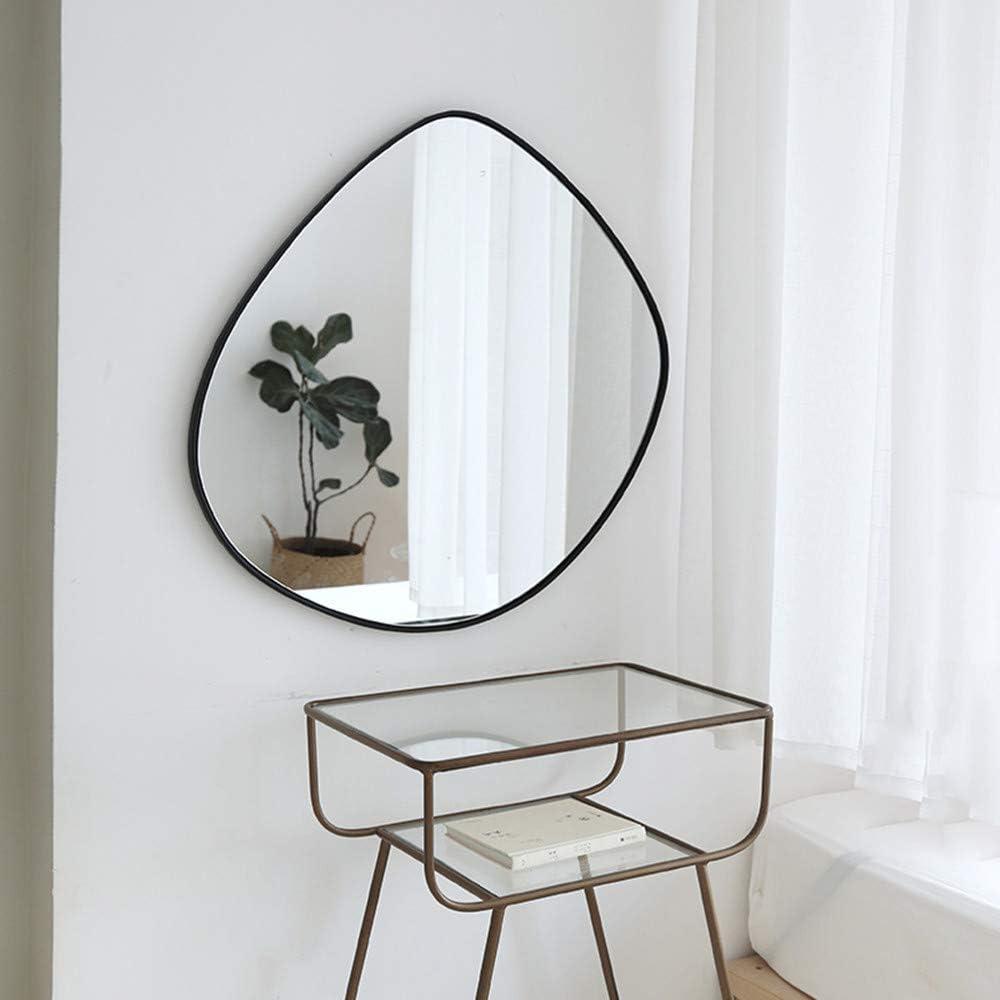 "BIKARSOUL Irregular Wall Mirror Iron Mat Black Framed Wall Mounted Mirror for Living Room Bedroom Bathroom Entryway Wall Decor 27.8"" 28.2"""