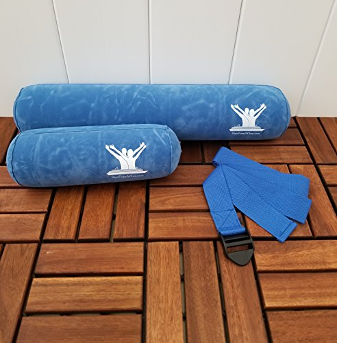 Pain Free-Posture Long & Short Inflatable Roll/Towel and Strap/Yoga Belt Bundle