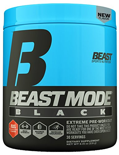 Beast Sports Nutrition Beast Mode Black Pre-Workout Formula. Explosive Energy & Sharp Focus. Agmatine for Massive Pumps, Calcium Fructoborate For Maximum Testosterone. 30 Servings, Beast Punch