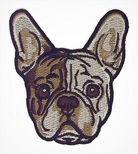 3.2 inches x 3.5 inches French bulldog Puppy pet Embroidered Sew Iron on Patch Cartoon Sew Iron on Embroidered Applique Craft Handmade Baby Kid Girl Women Cloths DIY Costume Accessories -