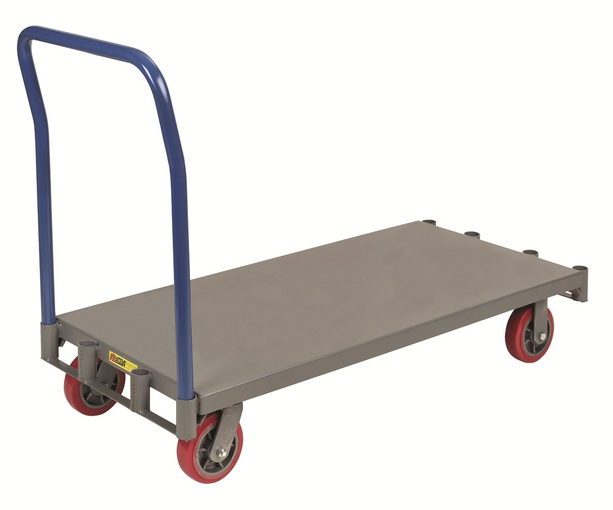 Little Giant APT-2448-6PY Adjustable Sheet and Panel Truck with 6'' Non-marking Polyurethane Wheels, 3600 lbs Capacity, 48'' Length x 24'' Width