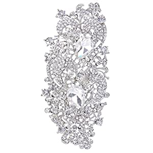EVER FAITH Austrian Crystal 4.1 Inch Royal Flower Pattern Wedding Brooch Clear