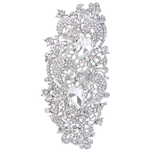 EVER FAITH Silver-Tone Austrian Crystal 4.1 Inch Royal Flower Pattern Wedding Brooch Pendant ()