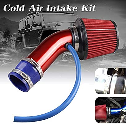 "RED UNIVERSAL 3.5/"" 89mm FLANGE DRY AIR FILTER FOR BMW AIR INTAKE+PIPE"