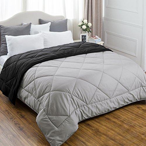 Full/Queen Reversible Comforter Duvet Insert with Corner Ties-Quilted Down Alternative Comforter Diamond Stitching Design Black/Grey 88