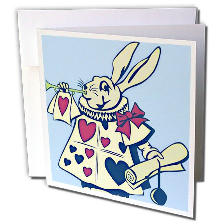 Whimsical Rabbit - 3dRose Magical Rabbit - Fun and Whimsical Art - Alice in Wonderland - Greeting Cards, 6 x 6 inches, set of 12 (gc_55724_2)