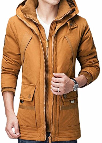 today Yellow Puffer Winter Thicken Warm Coat Jacket Cotton Hooded UK Men's Quilted Winter F7xrnwaFgq