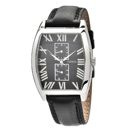 GUESS Men's W85066G1 Tonneau Case Black Leather Strap Watch