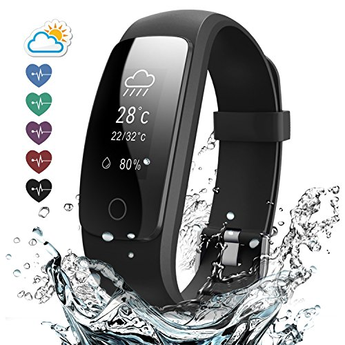 Effeltch Fitness Tracker with Heart Rate Monitor, E107 Plus Activity Tracker Smart Bracelet Watch with Pedometer Sleep Monitor Multi Sports Mode Waterproof for iPhone Android Smartphone (Black)