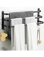 Wieszak na ręczniki łazienkowe, regał na ręczniki, czarny matowy, z trzema uchwytami na ręczniki i hakami, na ścianę, wieszak na ręczniki bez wiercenia