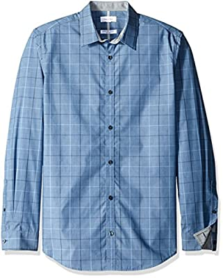 Calvin Klein Men's Window Plaid Infinite Cool Long Sleeve Button Down Shirt