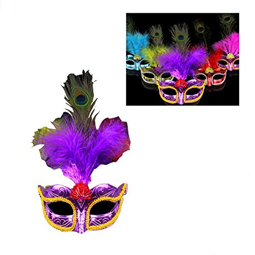 Women Peacock Feathers Mask Venetian Masquerade Mask Classic Masquerade Half Face Mask for Halloween Mardi Gras Costume Cosplay Random (Pink Feather Mask)