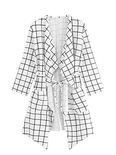 (Romwe Women's Plus Raw Cut Hem Waterfall Collar Long Sleeve Grid Wrap Trench Cardigan White 3X)
