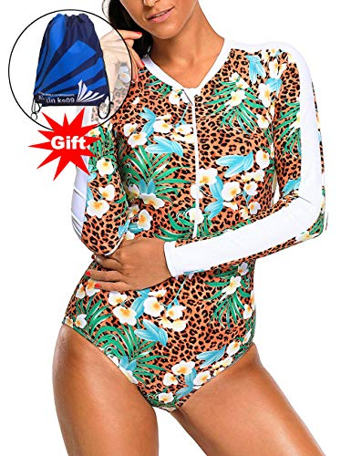 CHARMCZ 2 Pcs Women's Rash Guard Long Sleeve Swimsuit UV Sun Protection Tops Tankini Athletic Cover Up S-XXXL ((US 10-12) L, A) -