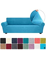 Goolsky Stretch Sofa Slipcover Spandex Anti-Slip Soft Couch Sofa Cover 4 Seater Washable for Living Room Kids Pets(Sky Blue)